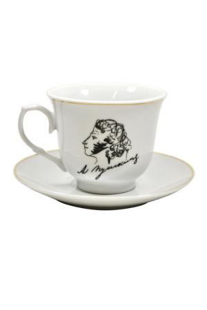 Чашка с блюдцем Пушкин Федерация. Цвет: белый