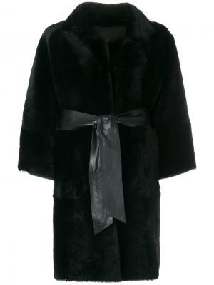 Двухстороннее пальто с кожаной отделкой Drome. Цвет: чёрный