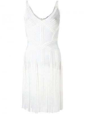 Приталенное платье с бахромой Hervé Léger. Цвет: белый