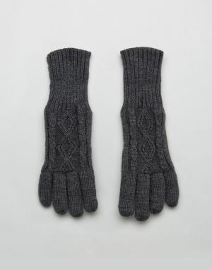 Stitch & Pieces Серые вязаные перчатки с узором в косичку. Цвет: серый