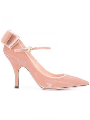 Туфли-лодочки с бантом и заостренным носком Rochas. Цвет: розовый и фиолетовый