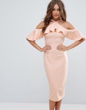 Girl In Mind Платье миди с открытыми плечами и оборкой. Цвет: бежевый