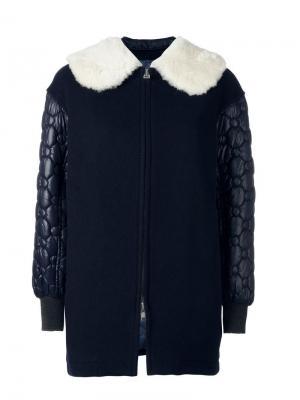 Пальто с воротником из меха енота Tsumori Chisato. Цвет: синий