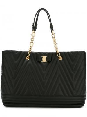 Текстурированная сумка-тоут Salvatore Ferragamo. Цвет: чёрный