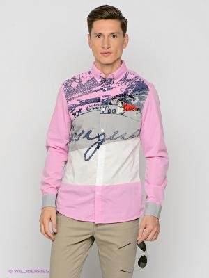 Рубашка Desigual. Цвет: розовый, белый