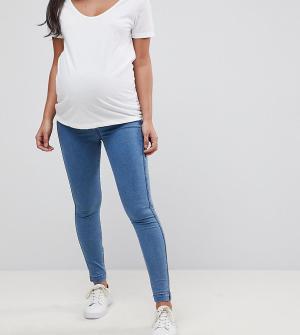 ASOS Maternity Джеггинсы с посадкой над животом. Цвет: синий