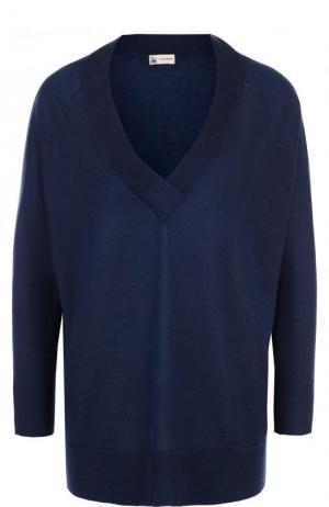 Пуловер свободного кроя из смеси кашемира и шелка Colombo. Цвет: темно-синий