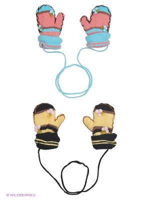 Варежки FOMAS. Цвет: светло-желтый, коралловый, черный, голубой