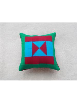 Подушка футер Агат. Цвет: зеленый, голубой, красный