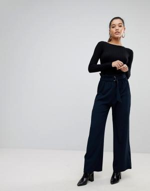 PrettyLittleThing Широкие брюки с присборенной талией. Цвет: темно-синий