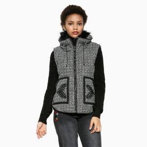 Пальто короткое на молнии DESIGUAL. Цвет: серый/ черный