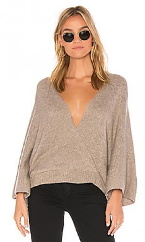 Пуловер с открытой спиной Ella Moss. Цвет: серо-коричневый