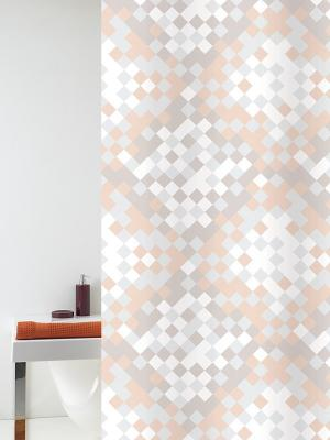 Штора д/ванн 240х200 Fragmmento беж. (шт.) Bacchetta. Цвет: светло-серый, белый, светло-оранжевый
