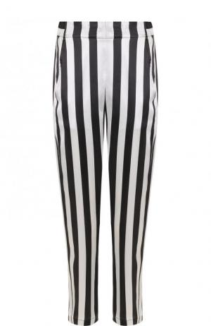 Укороченные шелковые брюки в полоску Ann Demeulemeester. Цвет: черно-белый