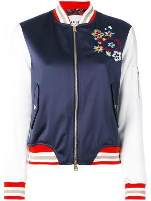 Куртка-бомбер с цветочной вышивкой Bazar Deluxe. Цвет: синий
