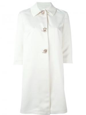Декорированное пальто Ermanno Scervino. Цвет: белый