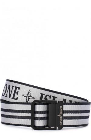 Текстильный ремень с логотипом бренда Stone Island. Цвет: белый