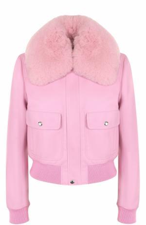 Кожаная куртка на молнии с воротником из меха лисы Givenchy. Цвет: фуксия