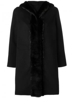 Пальто Luna B с норковым мехом Simonetta Ravizza. Цвет: чёрный