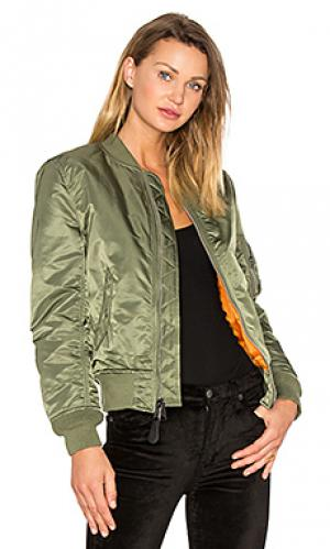 Куртка бомбер ma-1 w ALPHA INDUSTRIES. Цвет: зеленый
