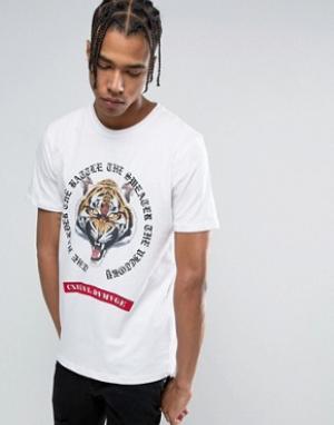 Criminal Damage Белая футболка с тигром. Цвет: белый