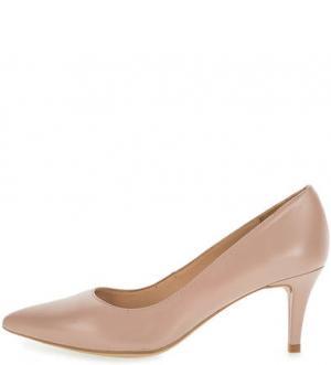 Остроносые кожаные туфли на шпильке UNISA. Цвет: розовый