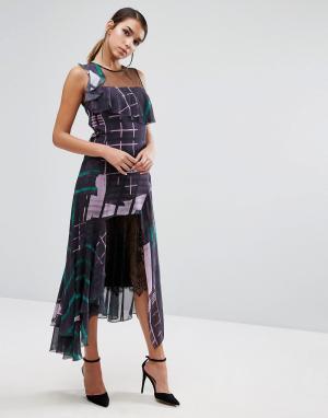 Three Floor Платье миди с принтом и кружевом. Цвет: мульти