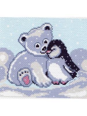 Рисунок на канве Мишка и пингвин Матренин Посад. Цвет: голубой