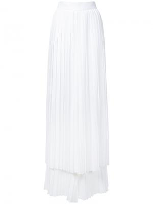 Многослойные брюки плиссе Sara Battaglia. Цвет: белый