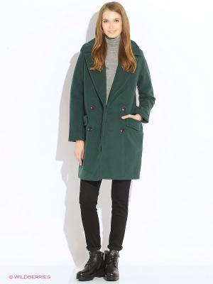 Пальто Oodji. Цвет: зеленый
