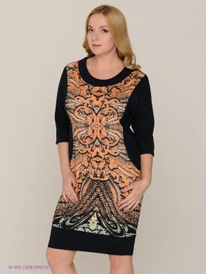 Платье MAFUERTA. Цвет: темно-синий, бежевый, оранжевый