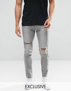 Always Rare Серые супероблегающие джинсы. Цвет: серый