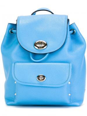 Маленький рюкзак с откидным клапаном Coach. Цвет: синий