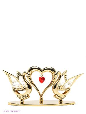 Фигурка Два лебедя с сердцем Юнион. Цвет: золотистый, прозрачный, красный