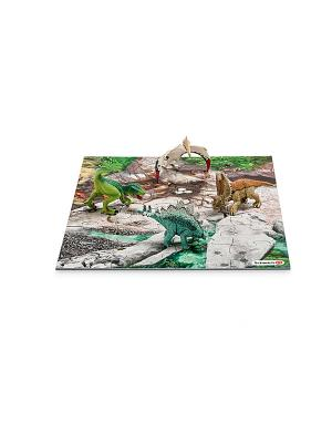 Набор мини-динозавры и пазл Лавовые поля SCHLEICH. Цвет: бирюзовый, серый, зеленый