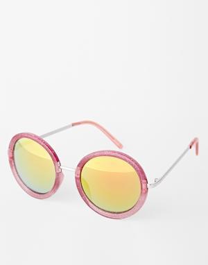 Trip Солнцезащитные очки в круглой блестящей оправе. Цвет: розовый