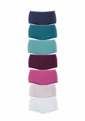 Трусики, 7 штук PETITE FLEUR. Цвет: 2х белый+2х черный+2х в клетку, 2х фиолетовый+2х розовый+2х серо-коричневый+1х белый, фиолетовый+бирюзовый+аква+бордовый+розовый+бежевый+белый