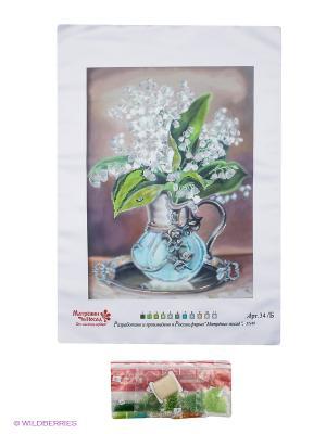 Набор для вышивания бисером Ландыши Матренин Посад. Цвет: зеленый, голубой, белый