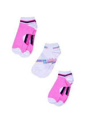 Носки женские,комплект 3шт Malerba. Цвет: розовый, белый