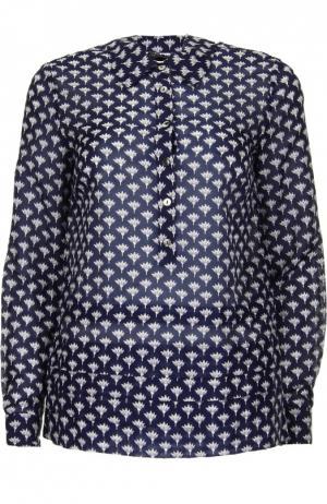 Хлопковая блуза прямого кроя с контрастным принтом Diane Von Furstenberg. Цвет: синий