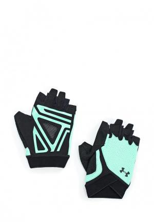 Перчатки для фитнеса Under Armour. Цвет: бирюзовый