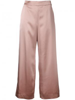 Укороченные широкие брюки Cityshop. Цвет: розовый и фиолетовый