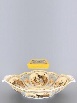 Блюдо для горячего Павлин на бежевом Elan Gallery. Цвет: бежевый, белый, коричневый