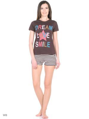 Комплект домашней одежды ( футболка, шорты) HomeLike. Цвет: коричневый
