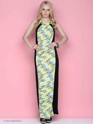 Платье Ginger and Soul. Цвет: желтый, черный, светло-зеленый, серый