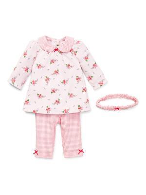 Комплект из 3-х предметов Полька Little Me. Цвет: розовый