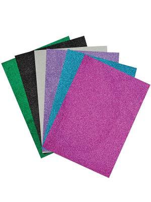 Набор цветной сверкающей самоклеющейся бумаги (А4, 6 цветов, листов) Fancy Creative. Цвет: синий, фиолетовый, зеленый