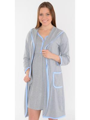 Халат с капюшоном Ням-Ням. Цвет: голубой, серый меланж