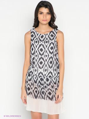 Платье Vila. Цвет: черный, молочный