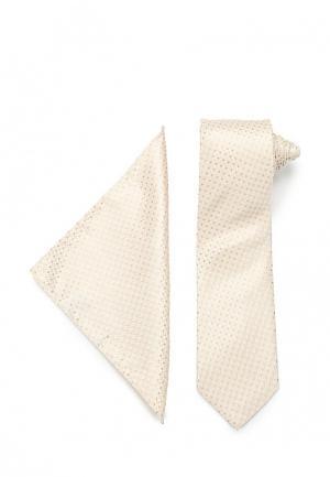 Комплект галстук и платок VinzoVista. Цвет: бежевый